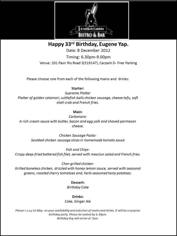 Eugene's Birthday Menu